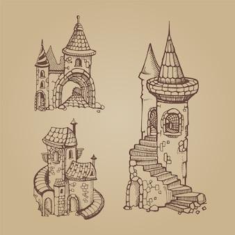 Conjunto de castelos medievais de mão desenhada