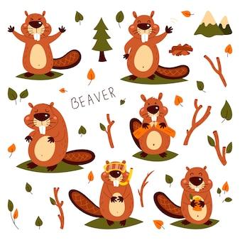 Conjunto de castores bonitos. autocolante infantil, engraçado. ilustração do estilo de quadrinhos dos desenhos animados de animais selvagens da floresta.