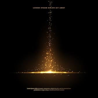 Conjunto de caudas de poeira brilhante em estilo dourado, abstrato de brilho dourado