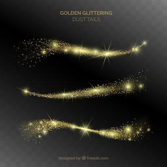 Conjunto de caudas de poeira brilhante em estilo dourado
