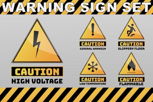 Conjunto de cautela cautela sinal amarelo