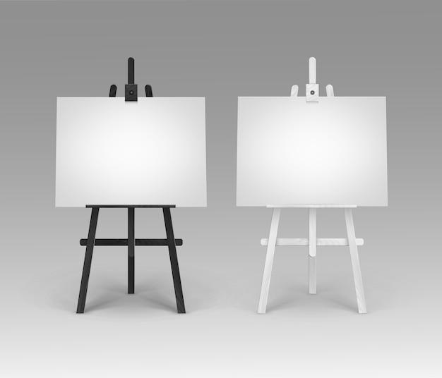 Conjunto de cavaletes de madeira preto e branco com telas horizontais em branco