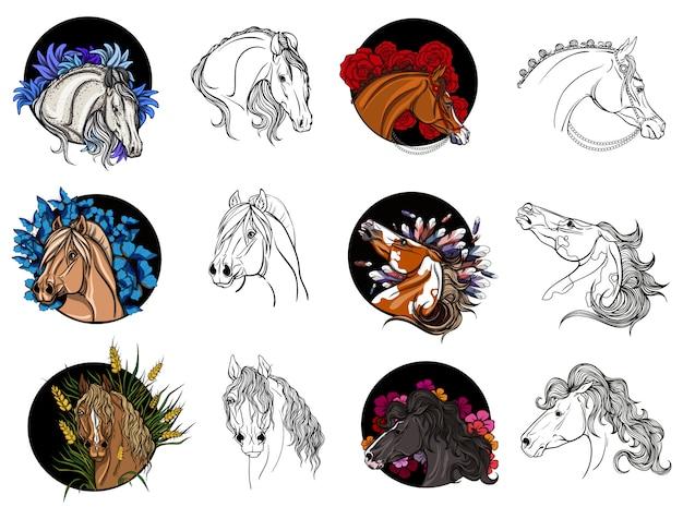 Conjunto de cavalos para colorir