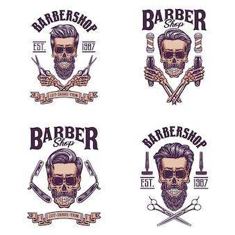 Conjunto de caveira barbeiro vintage, linha de mão desenhada com cor digital, ilustração