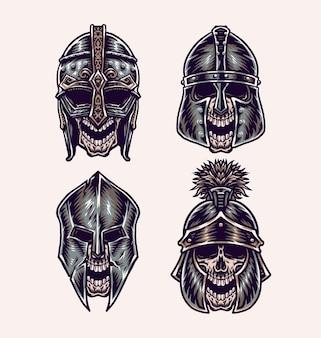 Conjunto de caveira com capacete, estilo de linha desenhada à mão com cor digital, ilustração