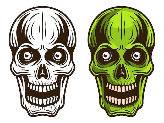 Conjunto de caveira de dois estilos, monocromático e ilustração detalhada colorida