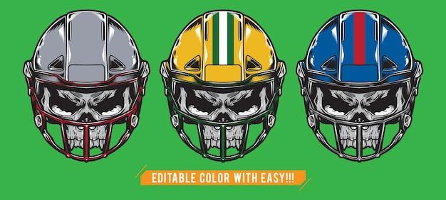 Conjunto de caveira de futebol americano com capacete