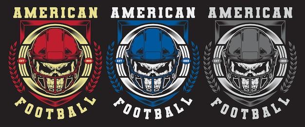 Conjunto de caveira de futebol americano com emblema de capacete