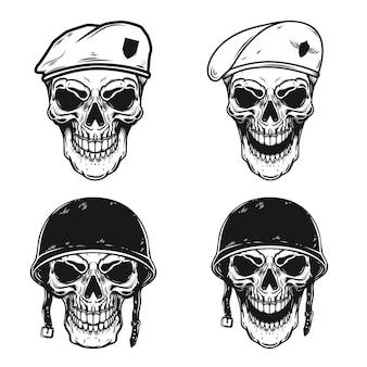 Conjunto de caveira de soldado em batalha com capacetes e boinas de pára-quedista