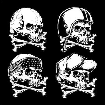 Conjunto de caveira e ilustração de animais de motociclista gangster