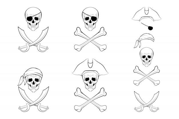 Conjunto de caveira pirata.