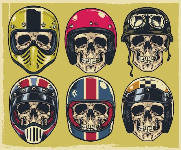 Conjunto de caveiras de desenho de mão usando vários tipos de capacete de moto