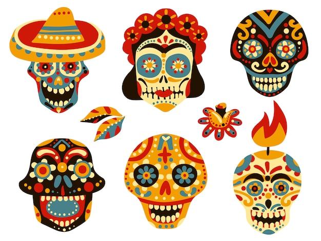 Conjunto de caveiras mexicanas