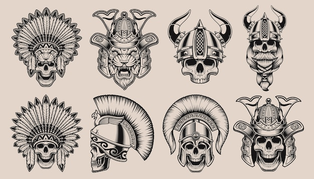 Conjunto de caveiras pretas e brancas em capacetes de guerreiros. samurai crânio, samurai tigre, crânio viking, crânio nativo americano e crânio espartano.
