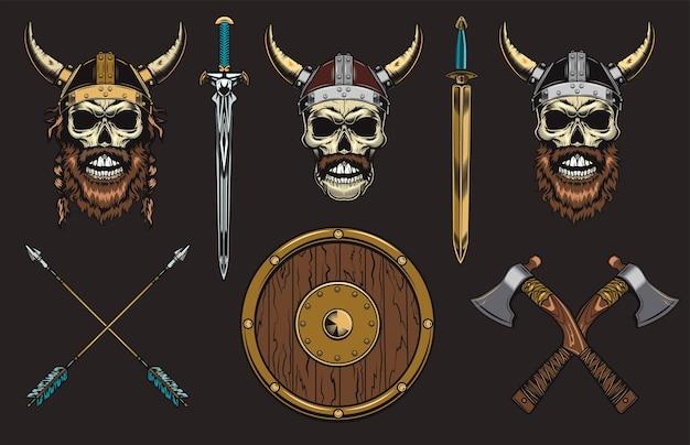 Conjunto de caveiras vikings