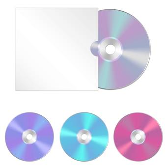 Conjunto de cds e caixa de cd realistas