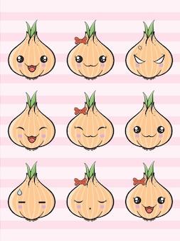 Conjunto de cebola bonito dos desenhos animados