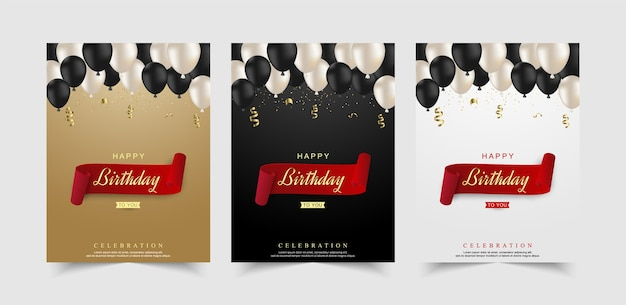 Conjunto de celebração de feliz aniversário com balão realista.