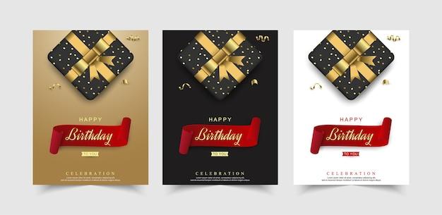 Conjunto de celebração de feliz aniversário com caixa de presente realista.