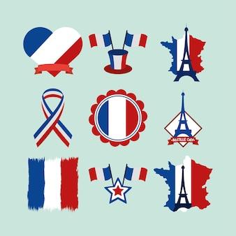 Conjunto de celebração de festa francesa