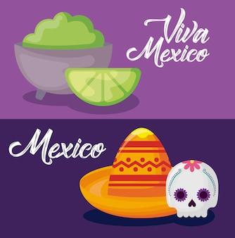 Conjunto de celebração de méxico viva com chapéu e ícones
