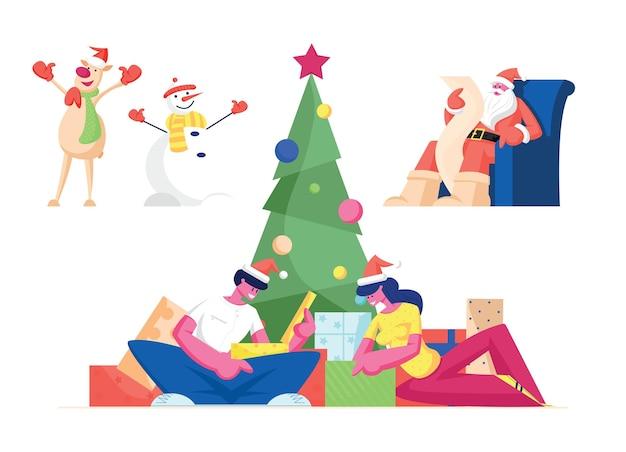 Conjunto de celebração de natal. personagens comemoram ano novo e feriados de natal.