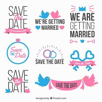 Conjunto de celebração do casamento etiquetas bonitas