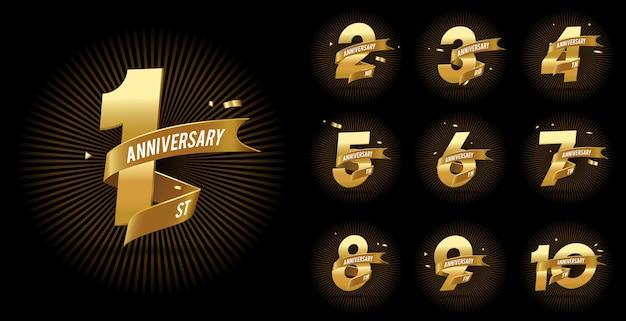 Conjunto de celebração do logotipo de aniversário de ouro