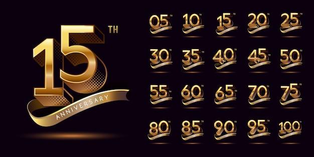 Conjunto de celebração do logotipo de aniversário dourado com fita de ouro