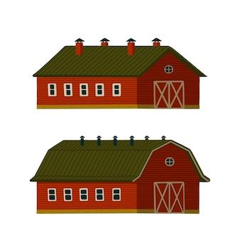 Conjunto de celeiros vermelhos.