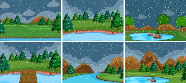 Conjunto de cena ao ar livre de tempestade