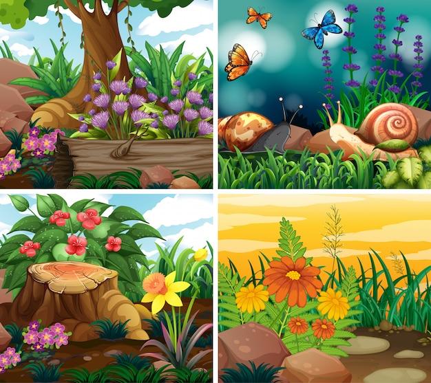 Conjunto de cena com tema da natureza
