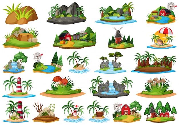 Conjunto de cena da ilha da natureza