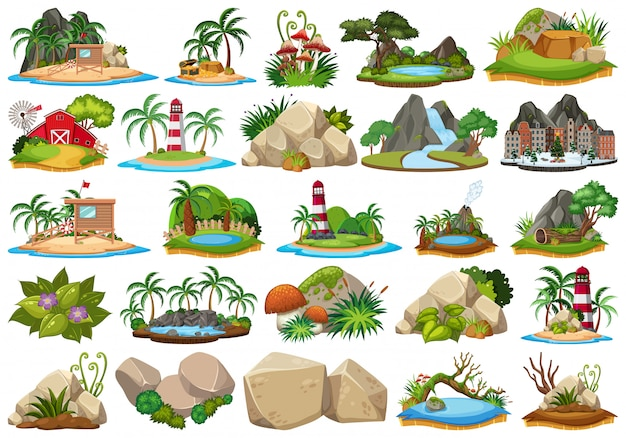Conjunto de cena da ilha