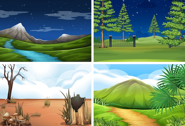 Conjunto de cena da natureza