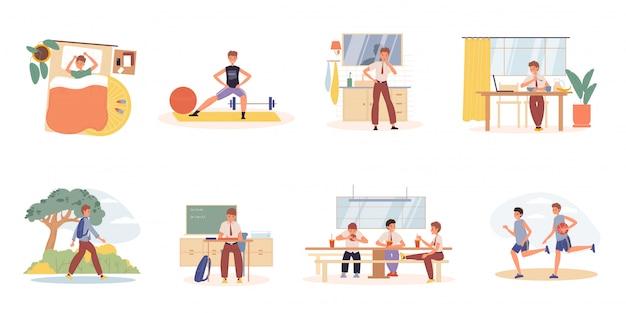 Conjunto de cena de atividades de programação diária de menino adolescente