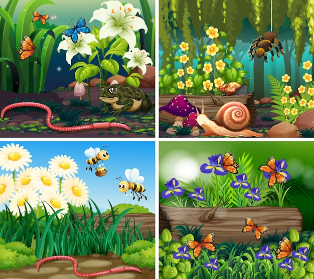 Conjunto de cena de fundo com flores e insetos na floresta
