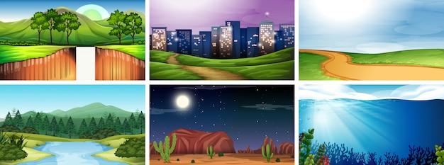 Conjunto de cena de natureza dia e noite