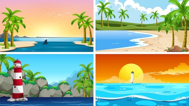 Conjunto de cena de natureza tropical oceano ou fundos com praias