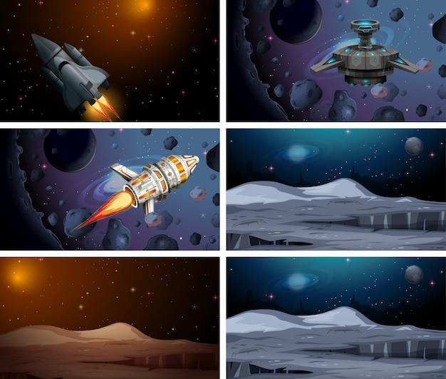 Conjunto de cena de nave espacial ou plano de fundo