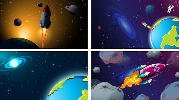 Conjunto de cena de plano de fundo do espaço