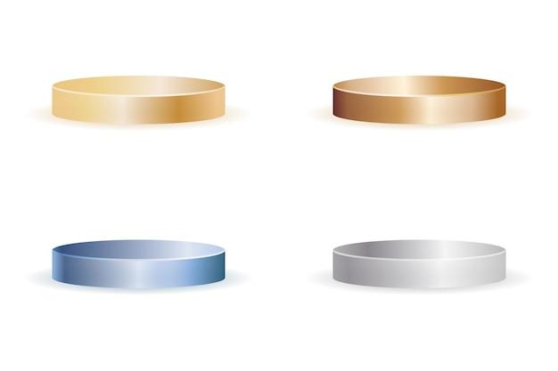 Conjunto de cena de pódio de produto em branco realista com gradiente de cor de metal isolada na ilustração vetorial de fundo branco
