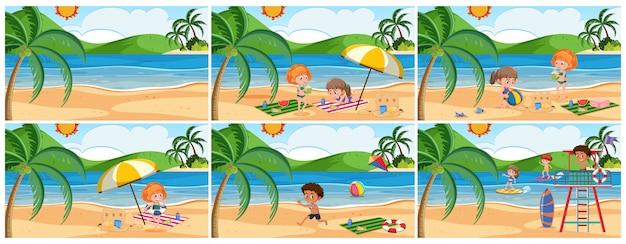 Conjunto de cena de praia de verão