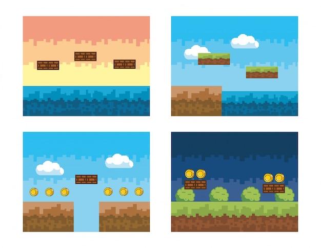 Conjunto de cena de videogame com arbustos e moedas pixelizada