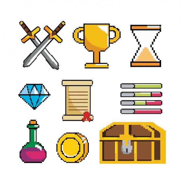 Conjunto de cena de videogame pixelizada e console digital