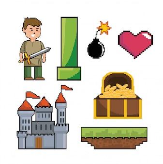 Conjunto de cena de videogame pixelizada