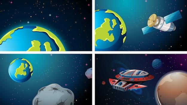 Conjunto de cena do espaço da terra
