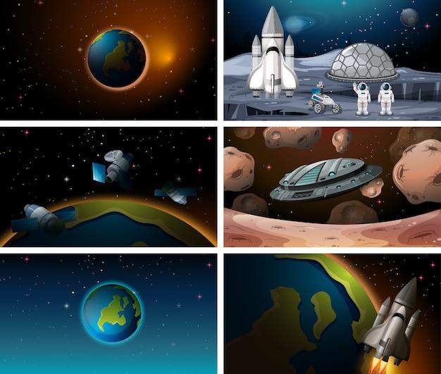 Conjunto de cena do espaço diferente