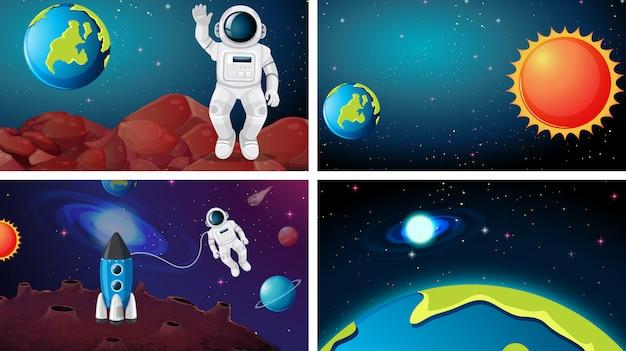 Conjunto de cena do espaço enorme