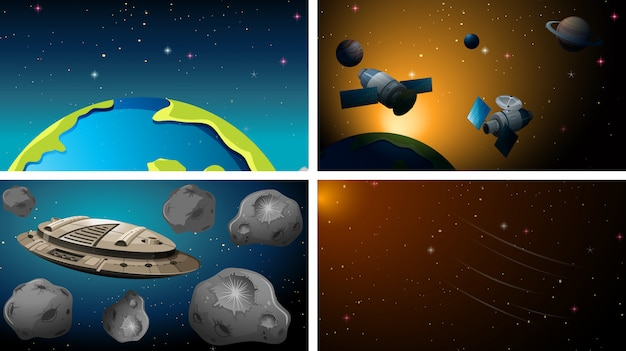 Conjunto de cena do espaço